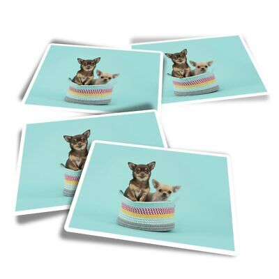 £3.99 • Buy 4x Rectangle Stickers - Chihuahua Dogs Puppy Puppies  #24346