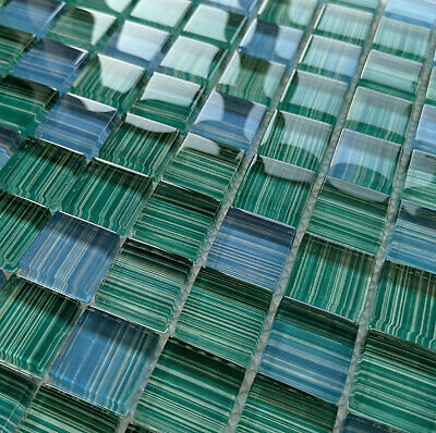 £7.98 • Buy New Blue & Green Humbug Stripe Pattern Glass Square Mosaic Wall Tiles 8mm Teal