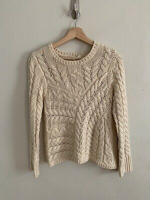 $ CDN36.93 • Buy Anthropologie Moth Women's Cable Knit Sweater Cream Pullover Size XS