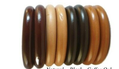 £15.99 • Buy Solid Wooden Curtain Rings Wood 38 Mm, 45 Mm With Eyes Hook Pole Rod UK Seller