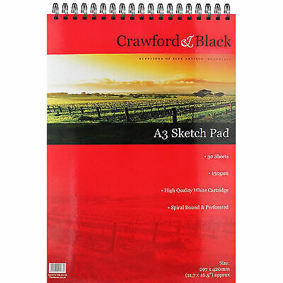 Drawing Sketch Pad High Quality A3 White Cartridge Spiral Bound Perforated Paper • 10.72£