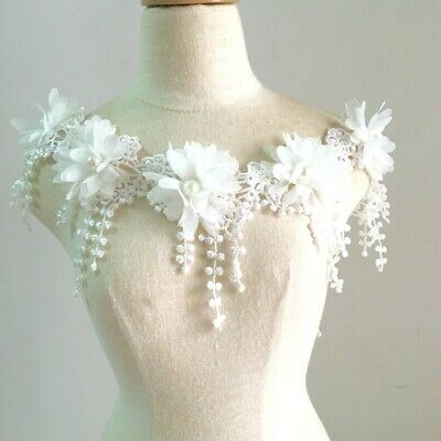 1 Yard Ivory Embroidered 3D Flowers Beaded Lace Trim DIY Dress Gown Applique • 2.99£