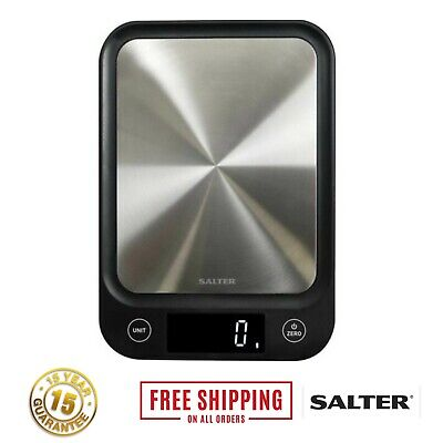 Salter Digital Kitchen Scales 5kg Electronic Stainless Steel Food Weighing Scale • 28.95£