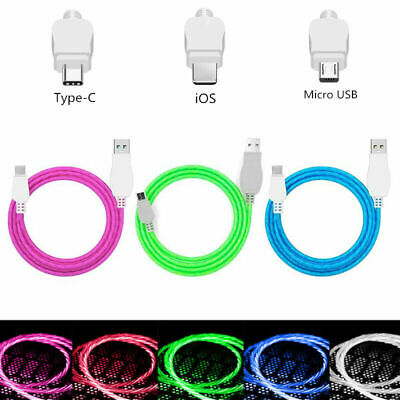 LED Light Up Data Sync Charging For IPhone Type C Micro USB Charger Cable Lead • 3.69£