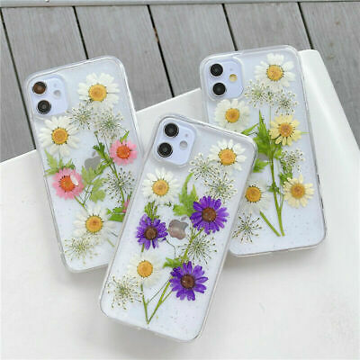 Real Dried Floral Glitter Soft TPU Phone Case Cover For IPhone 12 11 7 8 XR SE20 • 4.35£