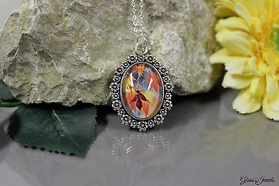 £14.87 • Buy Glass Stone Jewellery Silver Necklace Chain Pendant Cabochon Motif Choice #A084