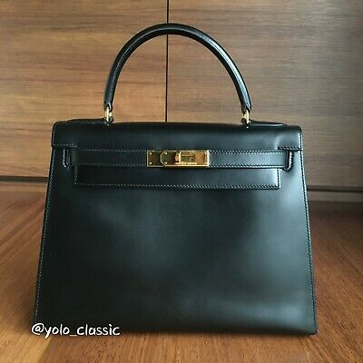 AU12500 • Buy Hermes Kelly 28 Black Noir Box Calf GHW