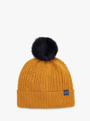 £12.95 • Buy Joules Bobble Beanie Hat French Navy Or Caramel Chunky Cable Knit Hat