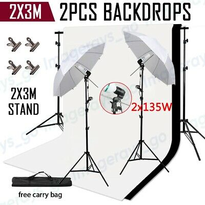 AU108.99 • Buy Photo Studio Umbrella Lighting Continuous Light Stand+2x3m Backdrops Supprot Kit