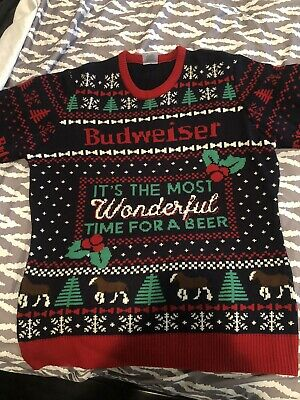 $34.99 • Buy Official Budweiser Most Wonderful Time For A Beer UGLY CHRISTMAS SWEATER XL NEW