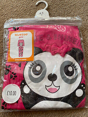NEW Debenhams Blue Zoo Rise & Shine Glitter Panda Pink Pyjamas Age 4-5 Years • 5.99£