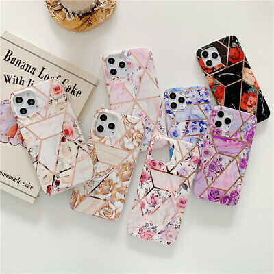 Geometric Marble Phone Case For IPhone 12 11 Pro 7 8 XS XR ShockProof Soft Cover • 4.39£