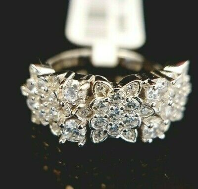 Ladies 925 Sterling Silver Simulated Diamond Floral Flower Band Ring Size M • 16.95£