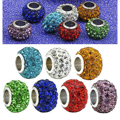 £2.83 • Buy 10pcs 10mm Crystal Rhinestone Spacer Beads Fit For European Charm Bracelets