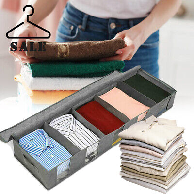 Large Capacity Under Bed Storage Bag Box 5 Compartments Clothes Shoes Organizer • 6.49£