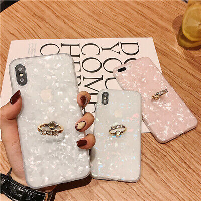 Case For IPhone 11 Pro MAX 8 7 XR ShockProof Marble Phone Cover With Ring Holder • 4.25£