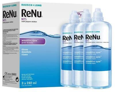 Bausch & Lomb ReNu MPS Multi-purpose Contact Lens Solution 3x240ml NEW FREE P&P • 12.40£