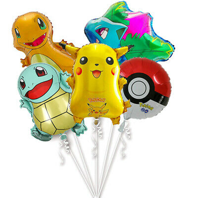 5PCS Pokemon Balloons Large Pokeball Pikachu Charmander Squirtle Ivysaur Party • 6.59£