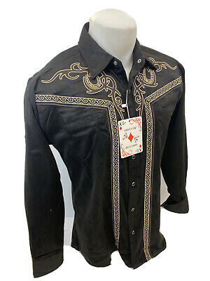 $14.95 • Buy Men RODEO WESTERN COUNTRY BLACK BEIGE STITCH TRIBAL SNAP UP Shirt Cowboy 04485
