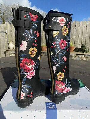 Joules Size 8 Black With Colourful Flowers Tall Wellies - Perfect Present! New! • 74.90£