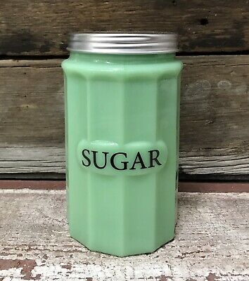 $46.40 • Buy SUGAR Jadeite Green Milk Glass Canister With Lid