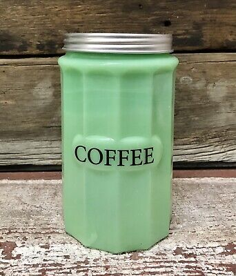 $46.40 • Buy COFFEE Jadeite Green Milk Glass Canister With Lid