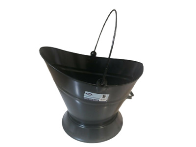 13  Black Oval Coal Bucket, Scuttle, Hod With Folding Handle At Top  • 16.99£