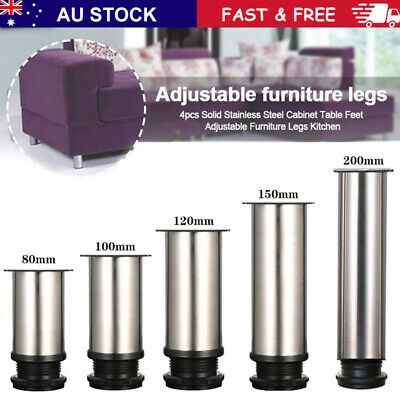 AU28.33 • Buy 4Pcs Stainless Cabinet Legs Steel Kitchen Feet Round Stand Holder Adjustable New