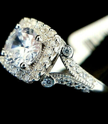 Ladies Art Deco 925 Silver Simulated Diamond Split Shank Halo Ring Size M • 16.95£