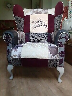 £350 • Buy Vintage Wingback Armchair, Shabby Chic Patchwork Style