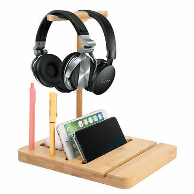 AU18.99 • Buy Dual Balance Headset Stand Gaming Headphone Holder Bamboo Wood For Phone Tablet