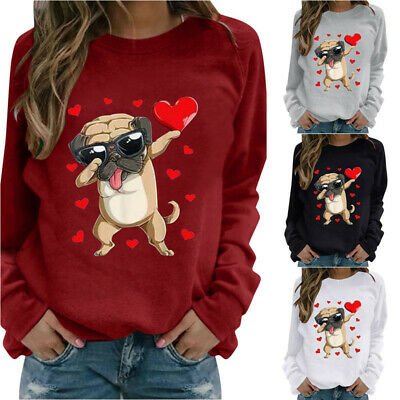 Womens Casual Dog Print Loose Tops Ladies Pullover Jumper Holiday Sweatshirt UK • 7.19£
