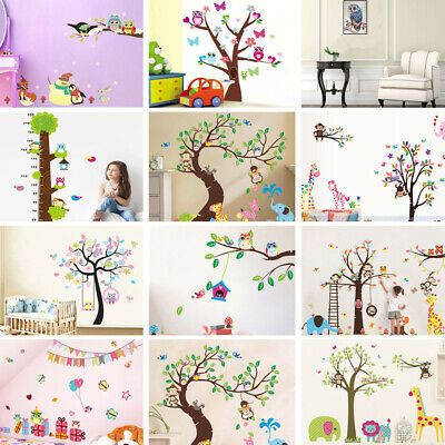 DIY Owl Cartoon Animal Flower Branch Wall Sticker Home Bedroom Kids Baby Decals • 3.75£