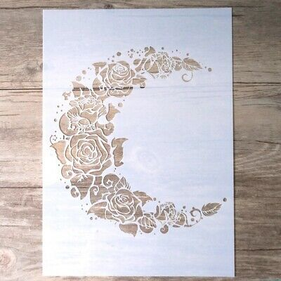 £4.99 • Buy A4 Large Moon Flower Floral Rose Roses Feather Plastic Stencil Reusable Mylar