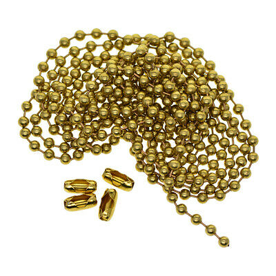 2m Brass Ball Chains With Connectors Clasps Jewelry Making Keychain Tag Craft • 4.44£