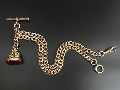 £1710 • Buy George V Antique 9 Ct Rose Gold Double Clip Curb Link Pocket Watch Albert Chain