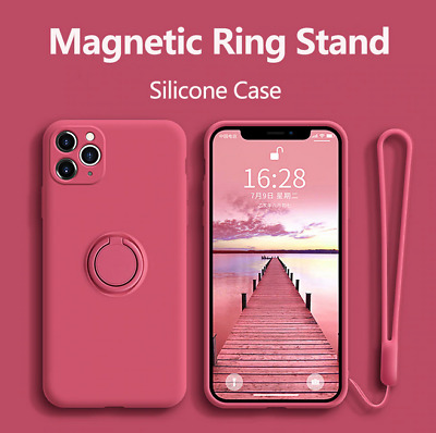 AU14.34 • Buy Silicone Soft Case With Ring Holder Stand Cover For IPhone 12 11 Pro Max X XS XR
