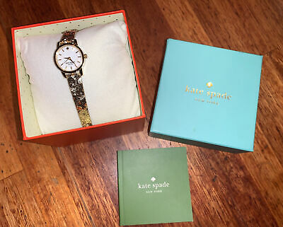 $ CDN60.67 • Buy NIB KATE SPADE Glitter Leather Strap Watch Live Colorfully Gold Tone
