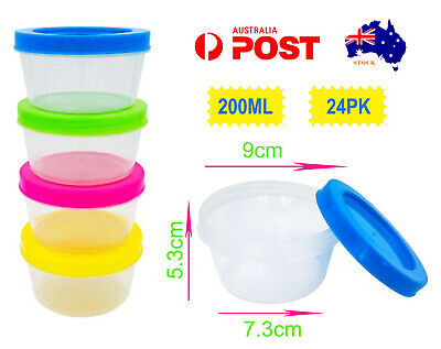 AU24.90 • Buy 24 Round Screw Top Clear Plastic Food Containers Kids Snack Slime Storage 200ml