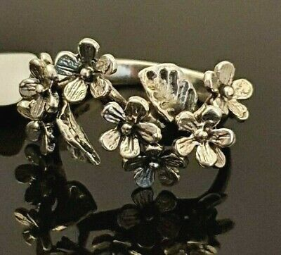 Ladies Chunky Oxidised 925 Sterling Silver Floral Flower Branch Leaf Ring Size M • 16.95£