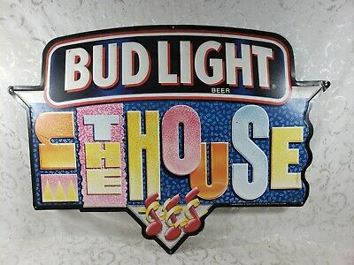 $ CDN82.23 • Buy Bud Light Beer Sign - In The House - Metal Budweiser Sign - Bar Man Cave Garage