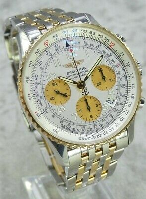 £5300 • Buy Breitling Navitimer Chrono Watch 18k Gold White Dial D23322 41.8 Mm Box & Papers