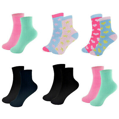 Girls Heart Design Thermal Socks Kids Plain School Uniform Black Navy Mint Pink • 3.47£