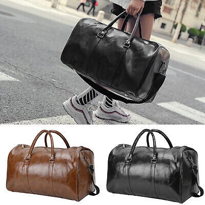 Mens PU Leather Duffle Weekend Bag Gym Sports Travel Luggage Handbag Holdall • 10.79£