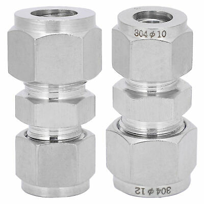 AU15.86 • Buy 2pc Compression Tube Fitting Adapter Double Ferrule Joint Connector Ф10-Ф12 New