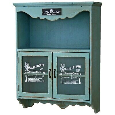 £174 • Buy Storage Wall Cupboard Cabinet Blue Distressed Le Marche French Design Shelving