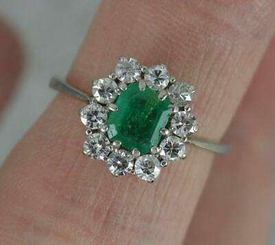 Stunning Colombian Emerald & Vs1 0.5ct Diamond 18ct White Gold Cluster Ring • 850£
