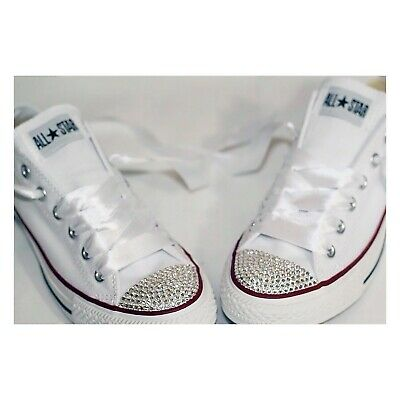 Customised Wedding Converse All Star Bling Trainers Shoes Swarovski Crystals • 95£