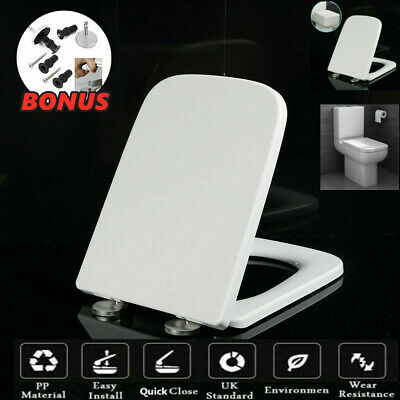 £15.59 • Buy Luxury Square Toilet Seat Heavy Duty Soft Close Quick Release Hinges Easy