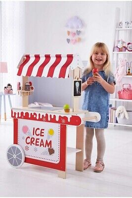 Childs Wooden Ice Cream Cart Shop Stand Trolley Pretend Play Food Set Role Toy • 69.90£